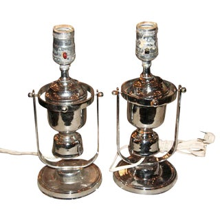 A Pair of Vintage Chrome Nautical Yacht Sconces or Table Lamps