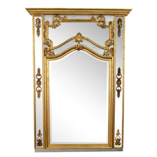 Large Scale La Barge Italian Florentine Style Trumeau Pier Giltwood Mirror- 1960s Mid Century - Louis XV French Revival Style