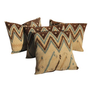 19th Century Navajo Indian Weaving Geometric Pillows