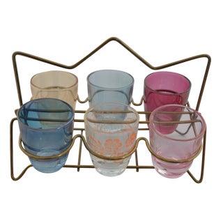 Mid-Century Cordial Shot Glasses Caddy Set