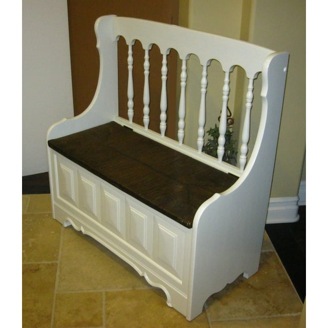 Tall-Back White Cottage Rush Seat Bench - Image 4 of 10