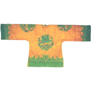 Vintage Chinese Short Orange Embroidered Silk Coat