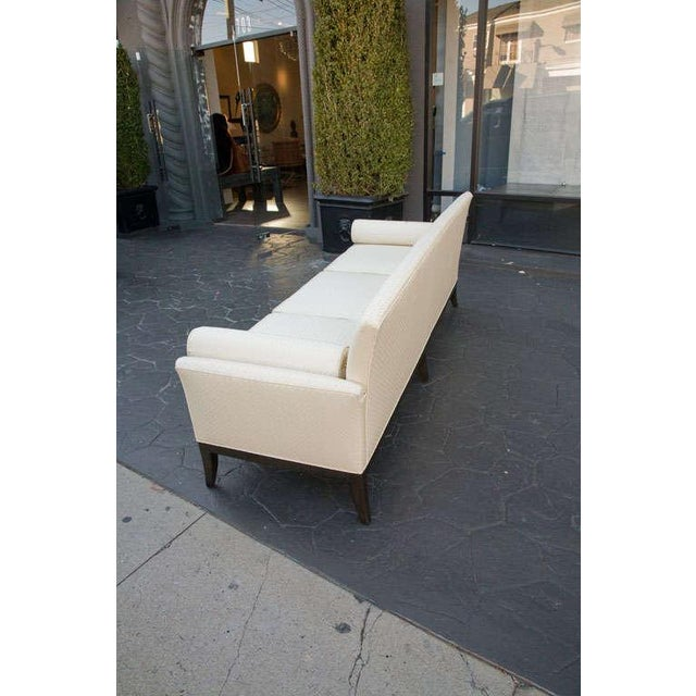 Image of Mid Century Sofa in Imported Quilted Cream Silk