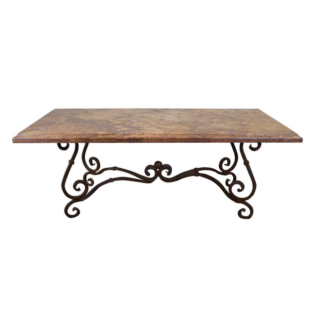 wrought iron base french marble top dining table chairish. Black Bedroom Furniture Sets. Home Design Ideas