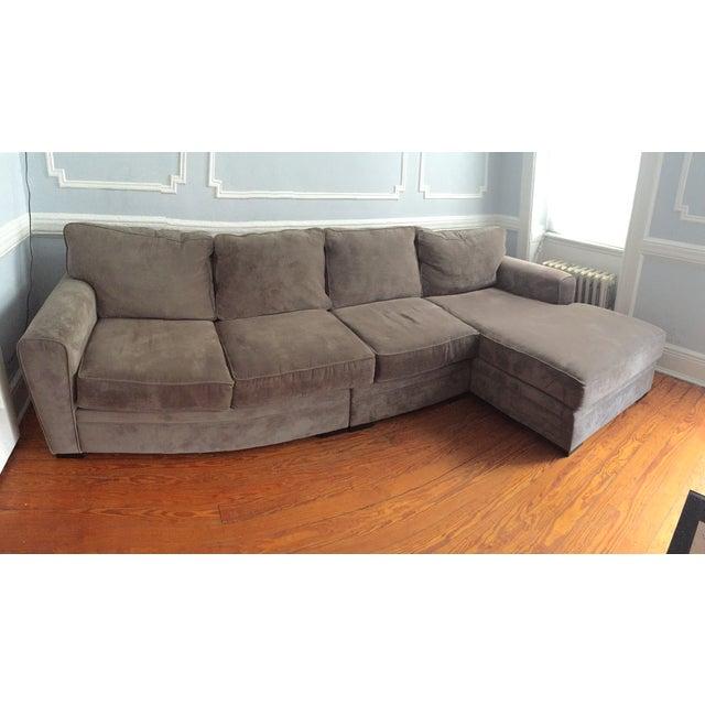 Slate gray sectional sofa chairish for Slate grey sectional sofa