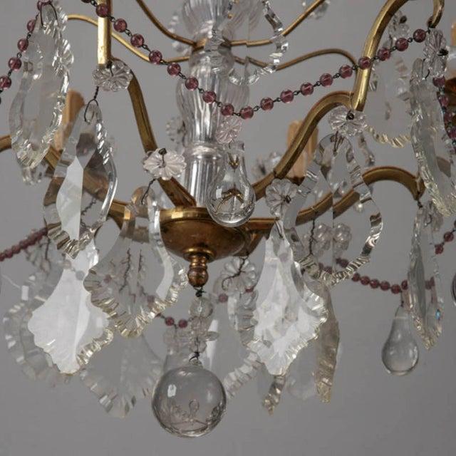 Italian 6-Arm Crystal Chandelier w/ Amethyst Beads - Image 4 of 6