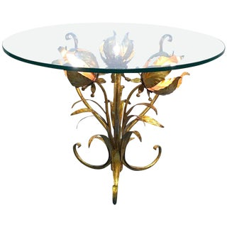 Italian Illuminated Gilt Tole Side Table