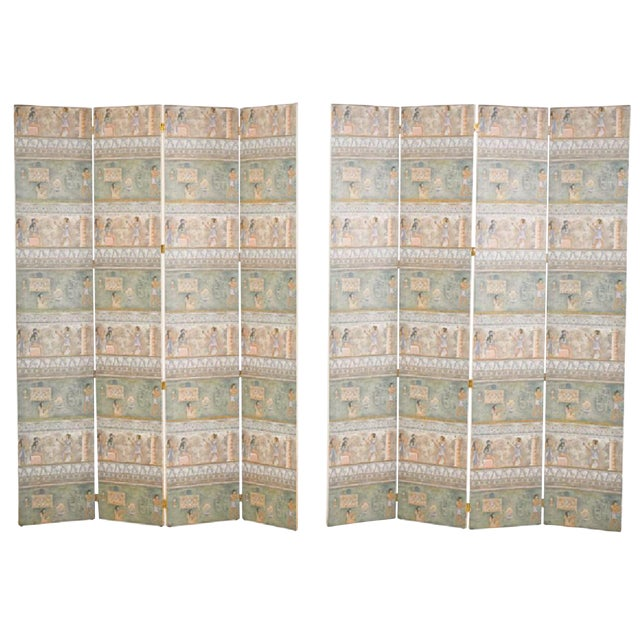 Maitland-Smith Postmodern Egyptian Revival Silk Screens - a Pair - Image 1 of 6