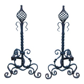 Antique Hand-Forged Iron Fireplace Andirons - Pair