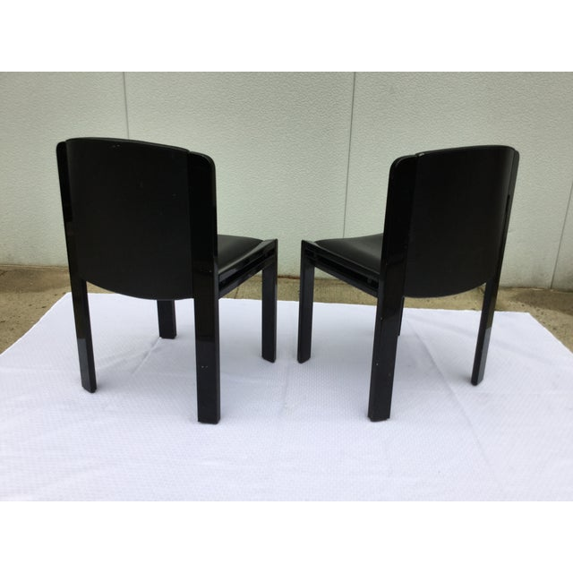 Image of Joe Colombo for Pozzi Leather Dining Chairs