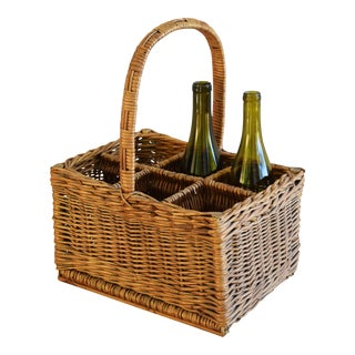 Vintage Wicker Wine Bottle Carrier With Handle