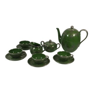 Green & Sterling Overlay Coffee Set - Set of 11