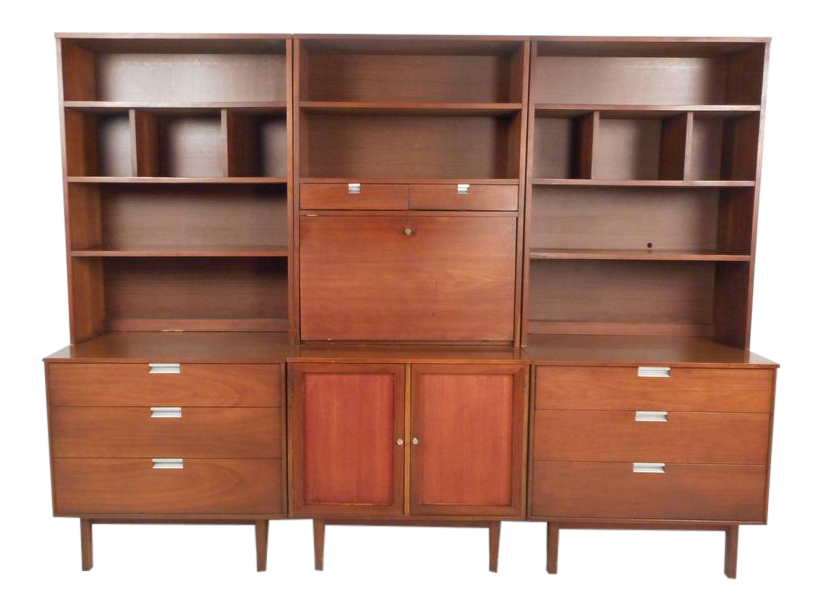Large Mid Century Modern Standing Wall Unit By Bassett Furniture