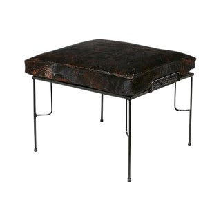 1960s Black Metal & Cowhide Foot Stool