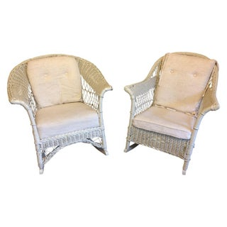 Vintage White Wicker Rocking Chairs - A Pair