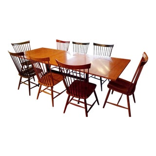 Ethan Allen Country Colors Dining Set with Table and 8 Fan Back Chairs