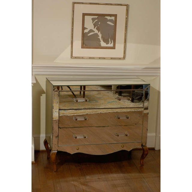 Mirrored Art Deco Three Drawer Chest with Brass Accents - Image 3 of 9