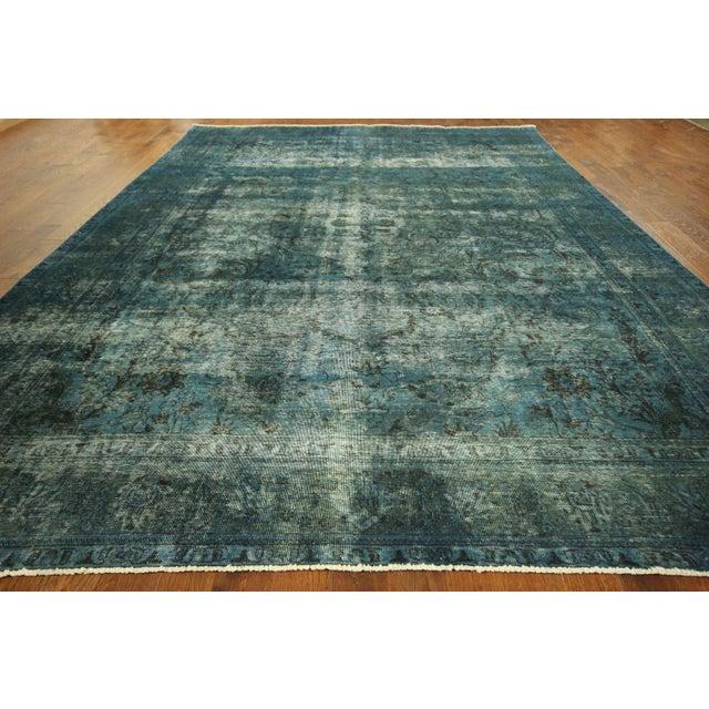Irani Persian Blue Overdyed Wool Rug - 10'X13' - Image 3 of 8