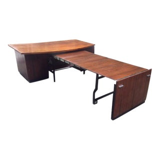 Chairman's Rosewood Office Desk With Retractable Conference Table