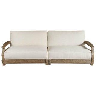 Mid-Century Distressed Oak Sofa