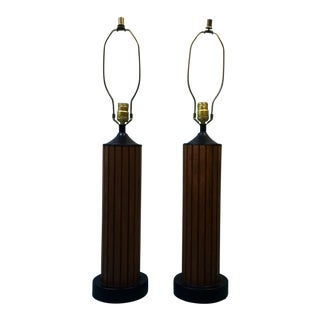Vintage Slatted Walnut Table Lamps - a Pair