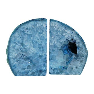 Blue Crystal Rock Bookends - A Pair