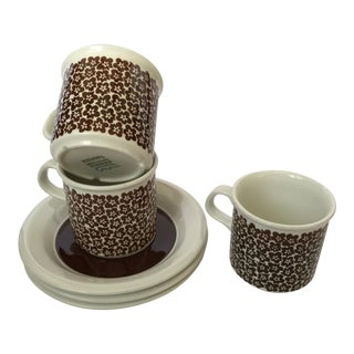 VTG MCM Rare ARABIA of Finaland Faenza Brown Cup & Saucers S/3
