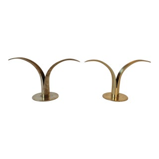 Swedish Ystad Metall Lily Candle Holders - A Pair