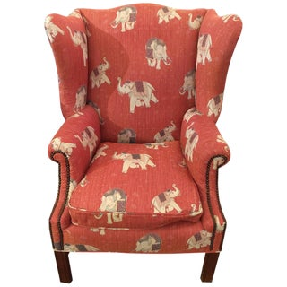 Vintage Chippendale Style Wing Armchair