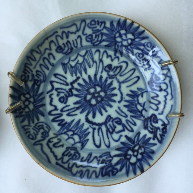 Antique Blue & White Plates, Flower Pattern - 4 - Image 7 of 11