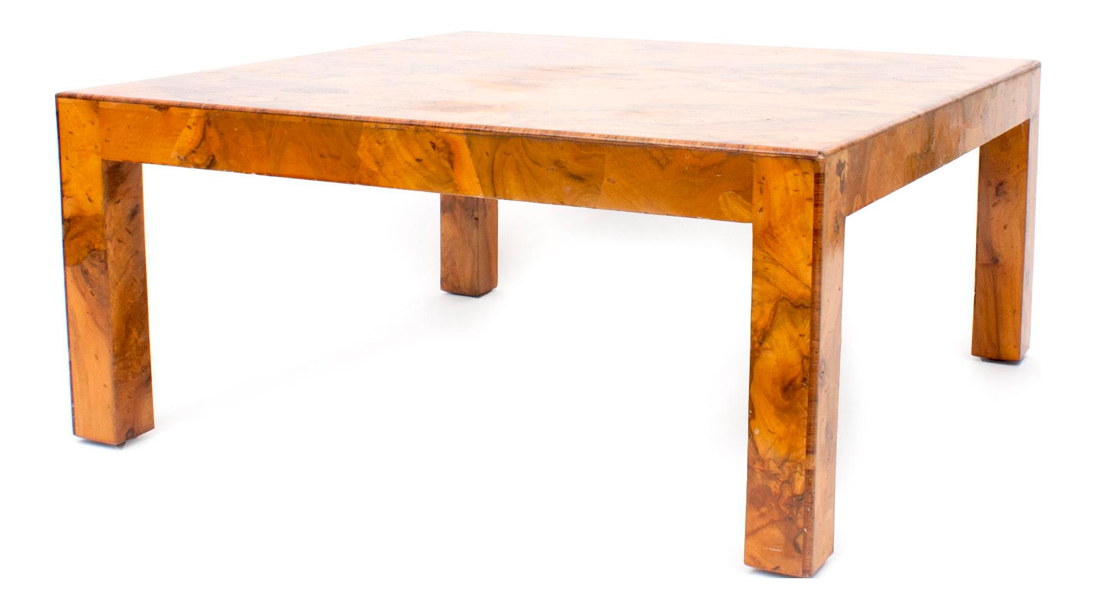 Italian Burlwood Coffee Table, 1960s