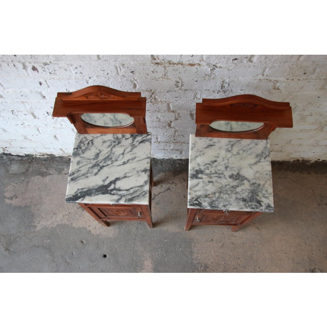Victorian Walnut & Marble Nightstands - a Pair - Image 5 of 11
