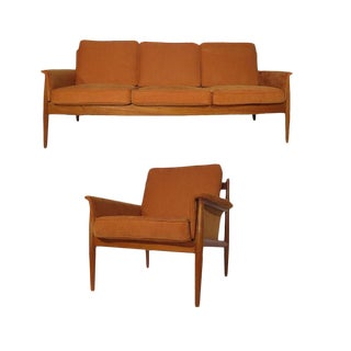 Grete Jalk Teak Sofa & Lounge Chair - A Pair