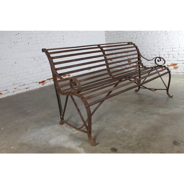 Antique 19th Century Forged Strap Iron Garden Bench - Image 10 of 10