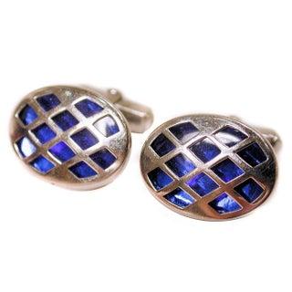 Vintage Anson Blue Lucite Silver Tone Cufflinks