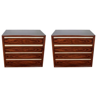 Pair of Rosewood Chest of Drawers with Lacquered Goatskin Details