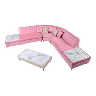 Pink Mid-Century Modern Sectional Sofa & Coffee Table Set