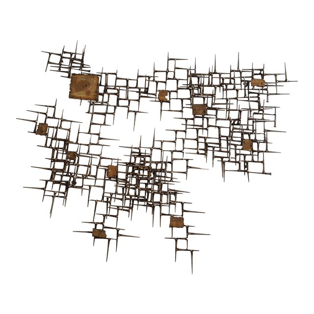 Abstract Brutalist Metal Wall Sculpture of Bronze and Brass - Image 1 of 8