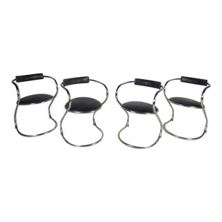 """Contemporary Chrome Cantilever """"Zigzag"""" Dining Chairs - Set of 4"""