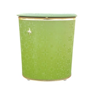 1950s Green Starburst Vinyl Hamper Basket