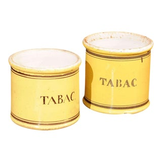"Pair of Yellow Glazed Ceramic ""Tabac"" Jars"