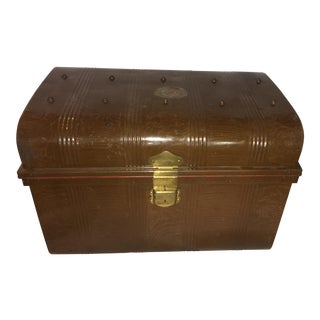Old Victorian Tin Trunk & Brass Hardware