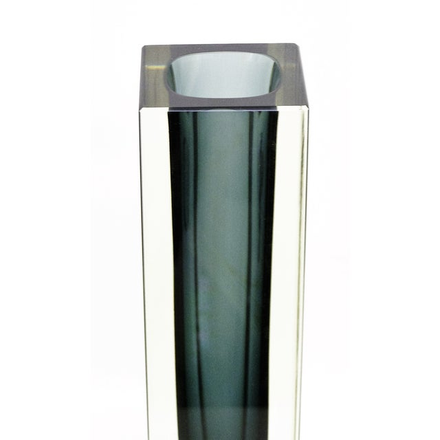 Italian Mandruzzato Murano Mid-Century Modern Gray Glass Vase MCM - Image 5 of 11