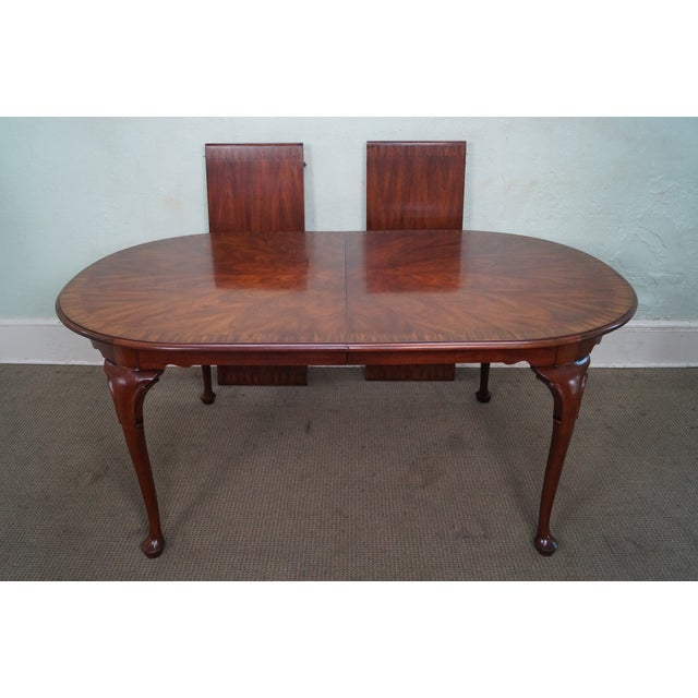 Henkel Harris Flame Mahogany Oval Queen Anne Dining Table | Chairish