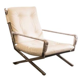 Mid-Century Italian Chrome, Leather, and Vinyl Armchair