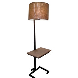Industrial Loft Wood Desk with Steel Floor Lamp