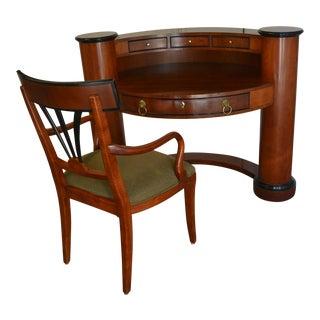 Century Brand Semi-Circle Secretary Desk & Chair - A Pair