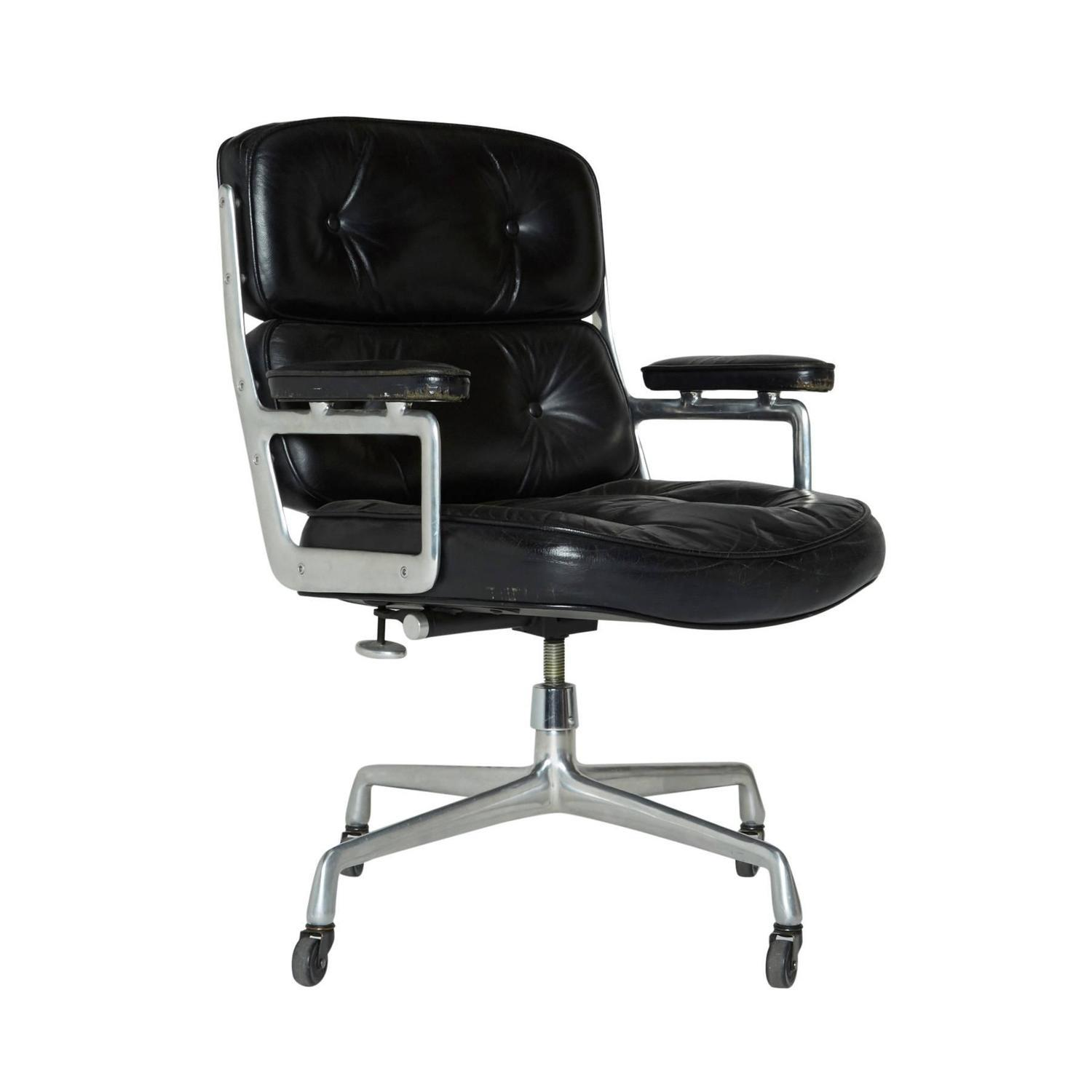 Black Leather Time Life Chair, Used