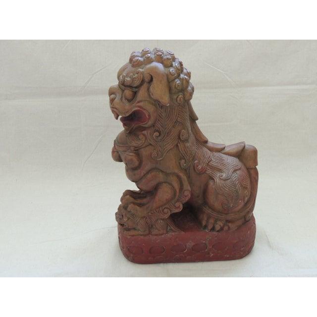 Vintage Wood Carved Foo Dog - Image 3 of 5
