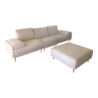 Natuzzi Sectional Sofa and Ottoman